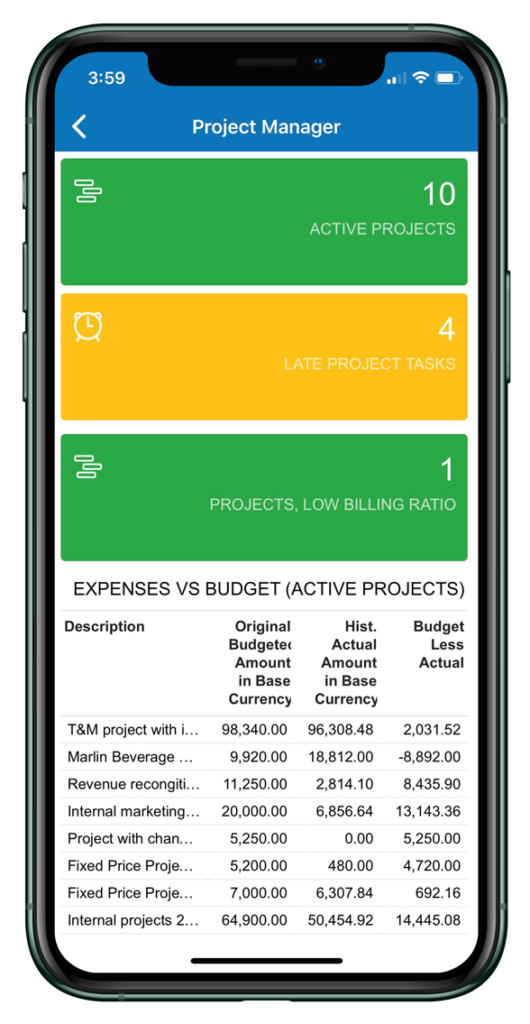 Acumatica Cloud ERP Project Accounting Mobile